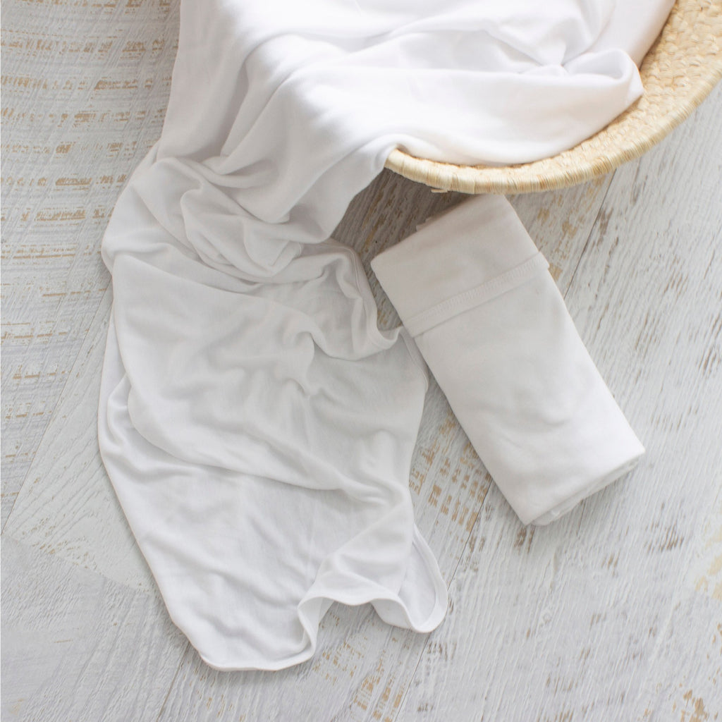 Bamboo White 2pk Stretch Jersey Swaddle Wraps | Bubba Blue - Nurture Little Footprints