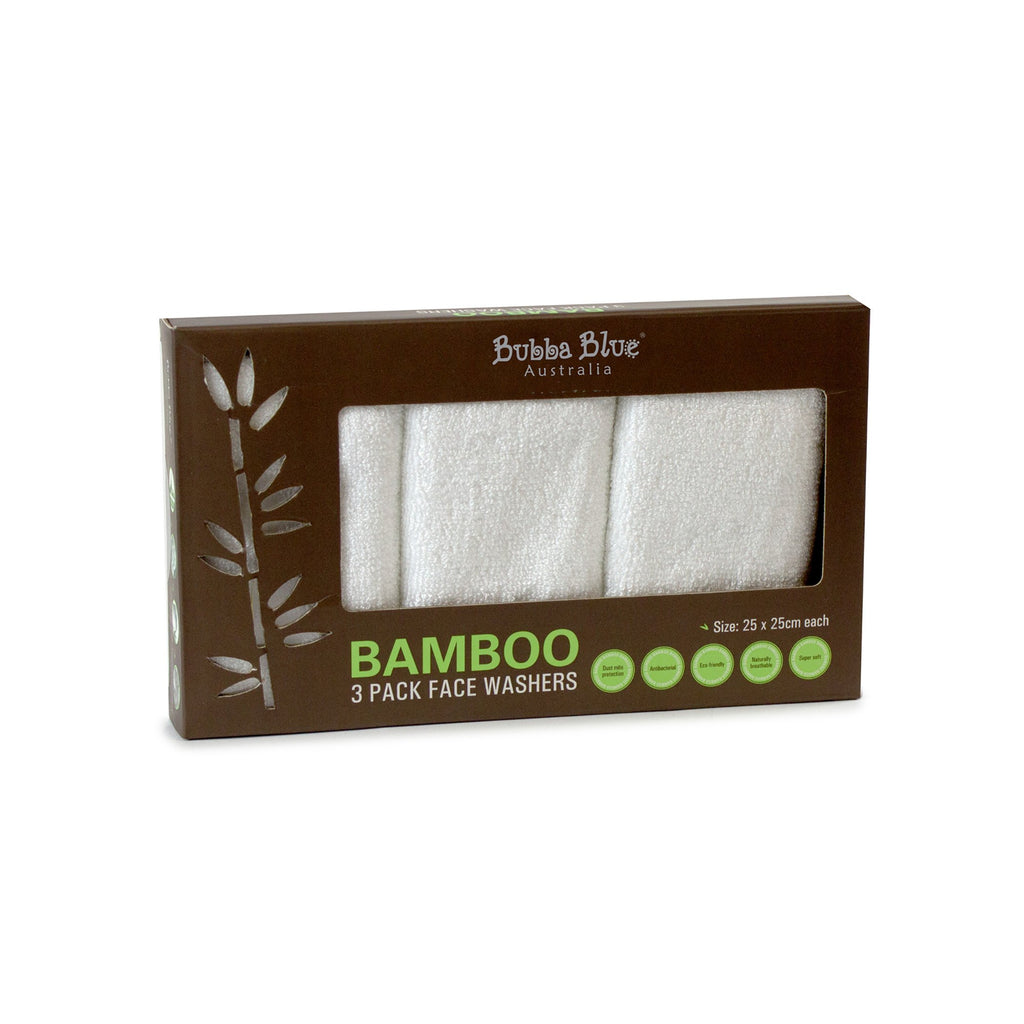 Bubba Blue Bamboo White 3pk Face Washers - Little Bamboos