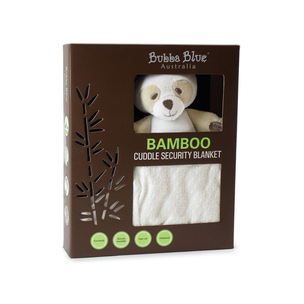 Bubba Blue Bamboo White Security Blanket (bear) - Little Bamboos