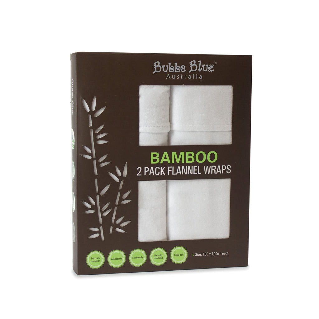 Bubba Blue Bamboo White 2pk Flannel Wraps