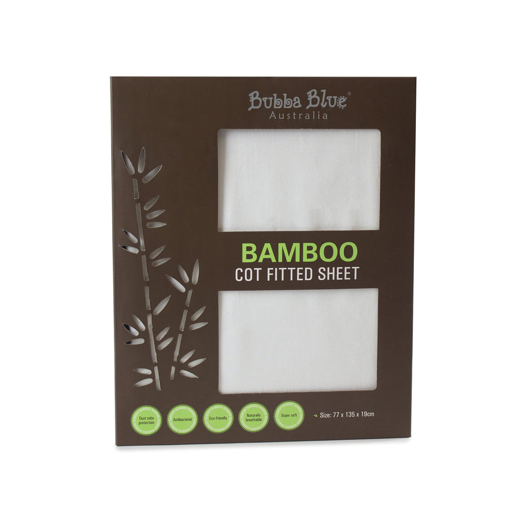 Bamboo White Cot Fitted Sheet | Bubba Blue - Little Bamboos