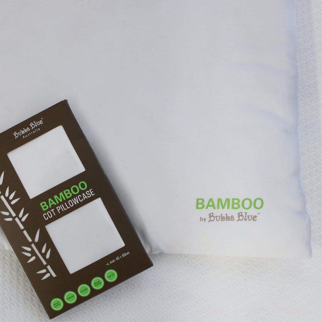 Bamboo White Cot Pillow - Bamboo filling & casing with bamboo pillowcase | Bubba Blue - Nurture Little Footprints