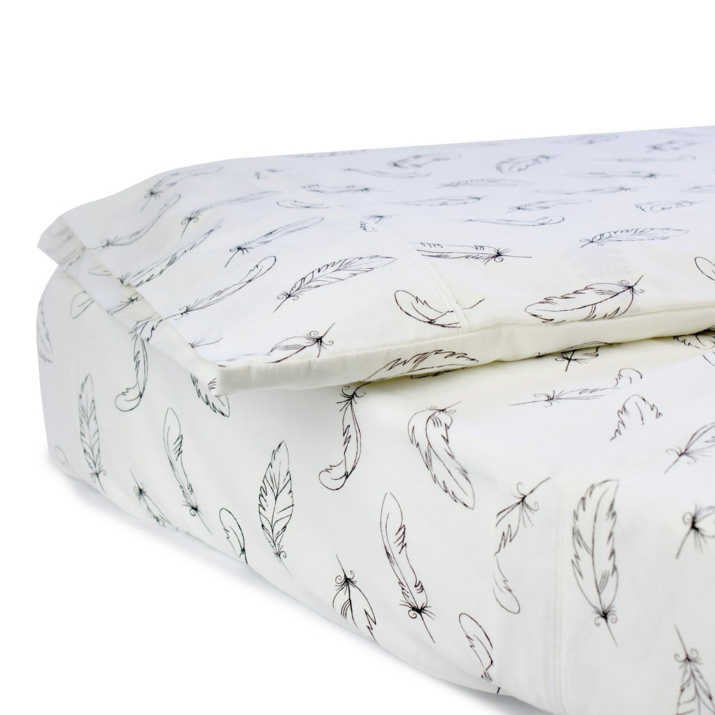 Bubba Blue Organic Feathers Cotton 3pcs Cot Sheet Set | Certified Organic Cotton