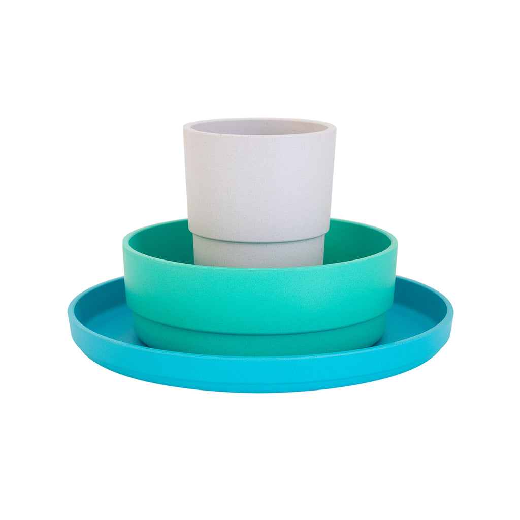 Bobo&Boo Plant Based Kids Dinnerware Set - Lagoon | BPA & Toxin Free | Microwave Safe - Little Bamboos