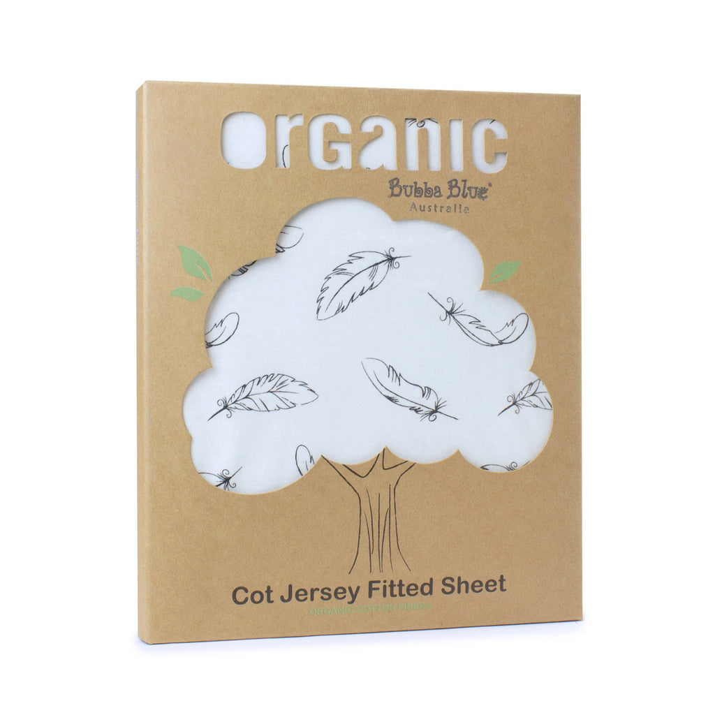 Bubba Blue Organic Feathers Cotton Jersey Cot Fitted Sheet | Certified Organic Cotton