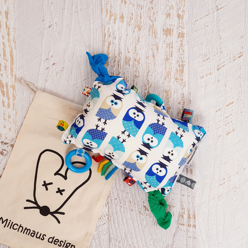 Handcrafted Sensory Pillow by Milchmaus Design Sensory Pillow | Owl | Blue