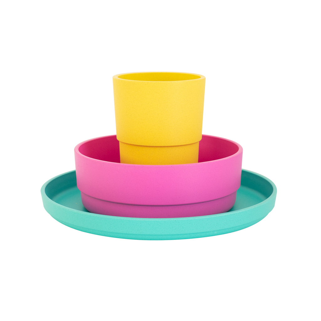 Plant Based Kids Dinnerware Set - Tropical | BPA & Toxin Free | Microwave Safe | bobo&boo - Nurture Little Footprints