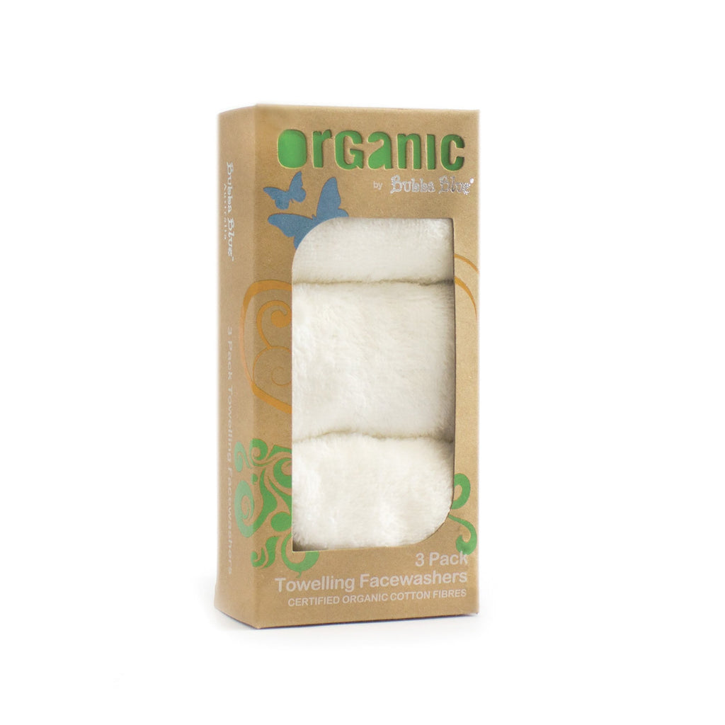 Bubba Blue Organic Feathers 3 pack Face Washers (with hook) | Certified Organic Cotton