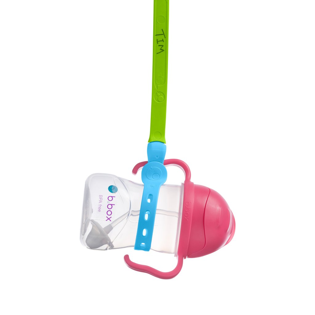 Image of a Connect-A-Cup strap connected to baby bottle