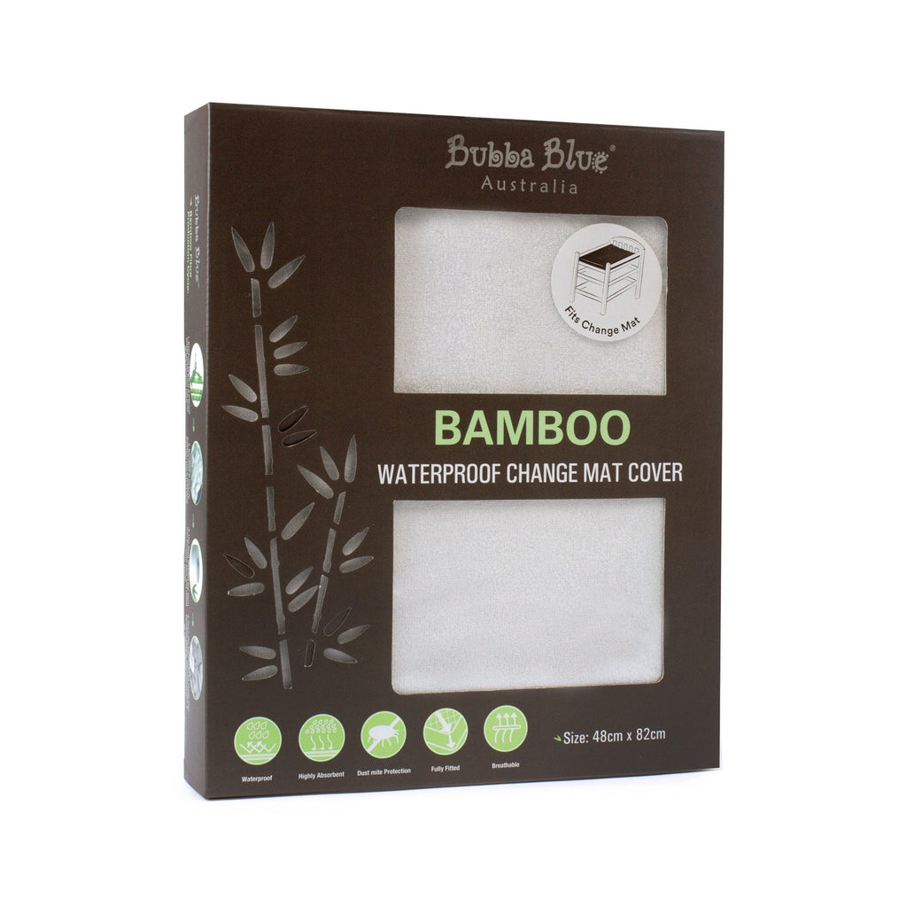 Bamboo White Waterproof Change Mat Cover | Bubba Blue - Nurture Little Footprints