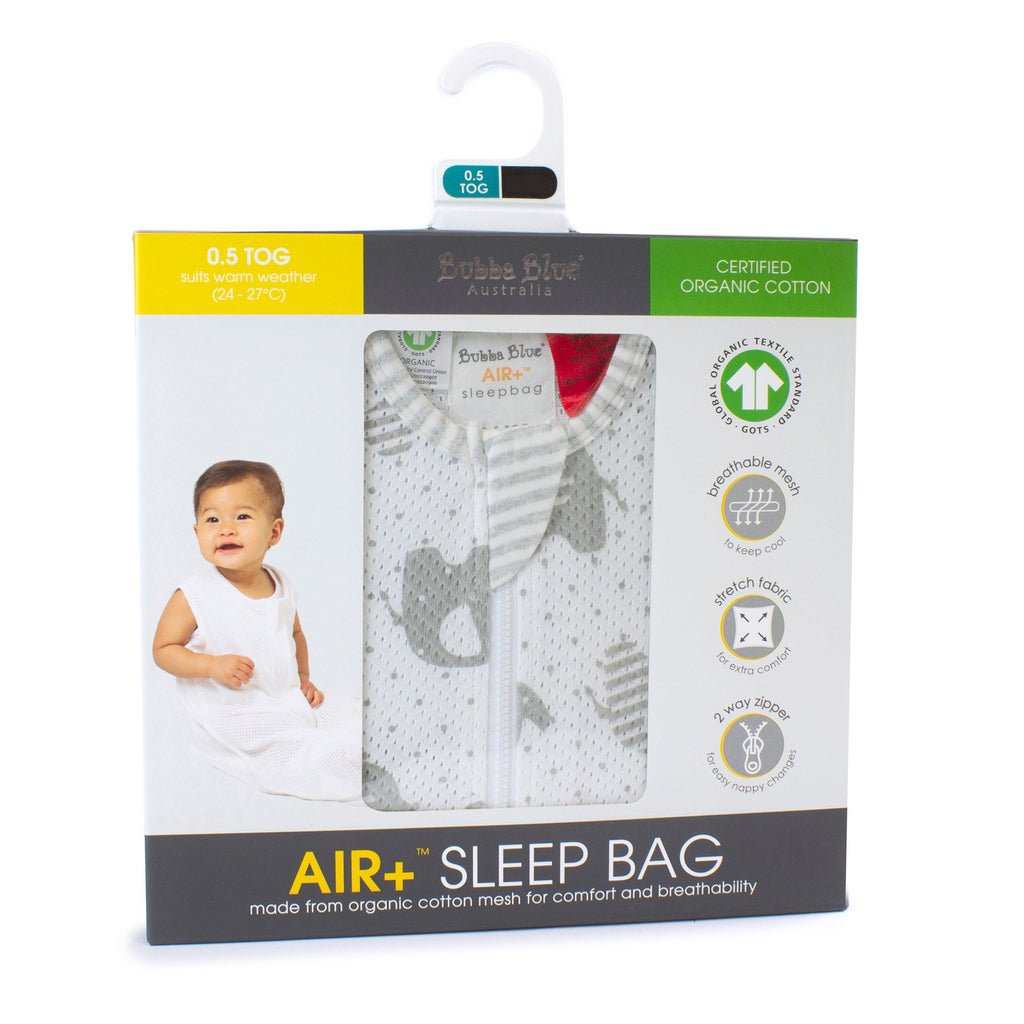 Bubba Blue Air+ Sleep Bag Petit Elephant | GOTS certified organic cotton - Little Bamboos