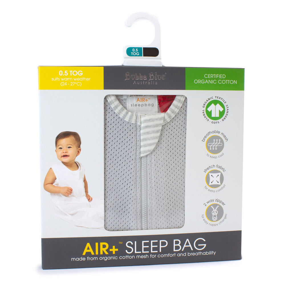Bubba Blue Air+ Sleep Bag Grey | GOTS certified organic cotton - Little Bamboos