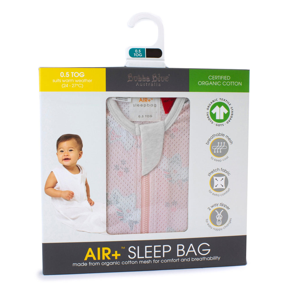 Bubba Blue Air+ Sleep Bag Unicorn Magic | GOTS certified organic cotton - Little Bamboos