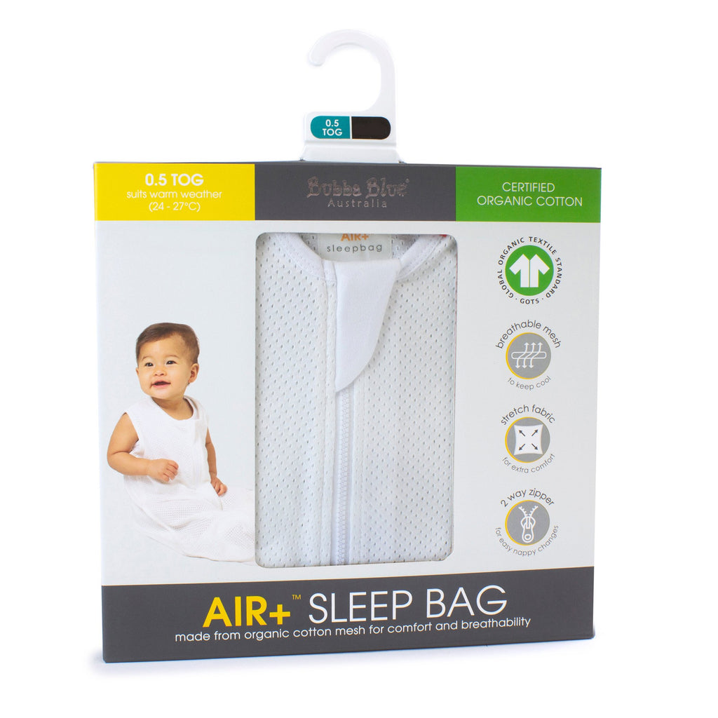 Bubba Blue Air+ Sleep Bag White | GOTS certified organic cotton - Little Bamboos