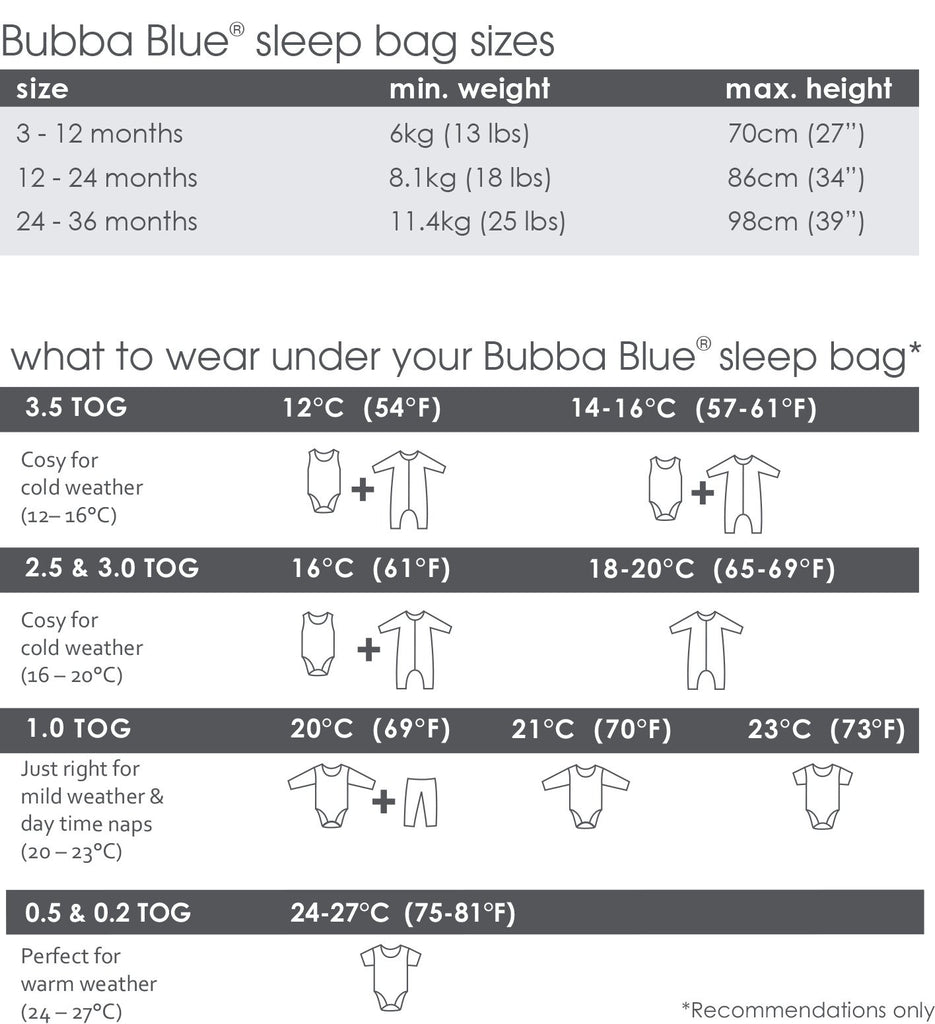 Bubba Blue Air+ Sleep Bag Grey | GOTS certified organic cotton