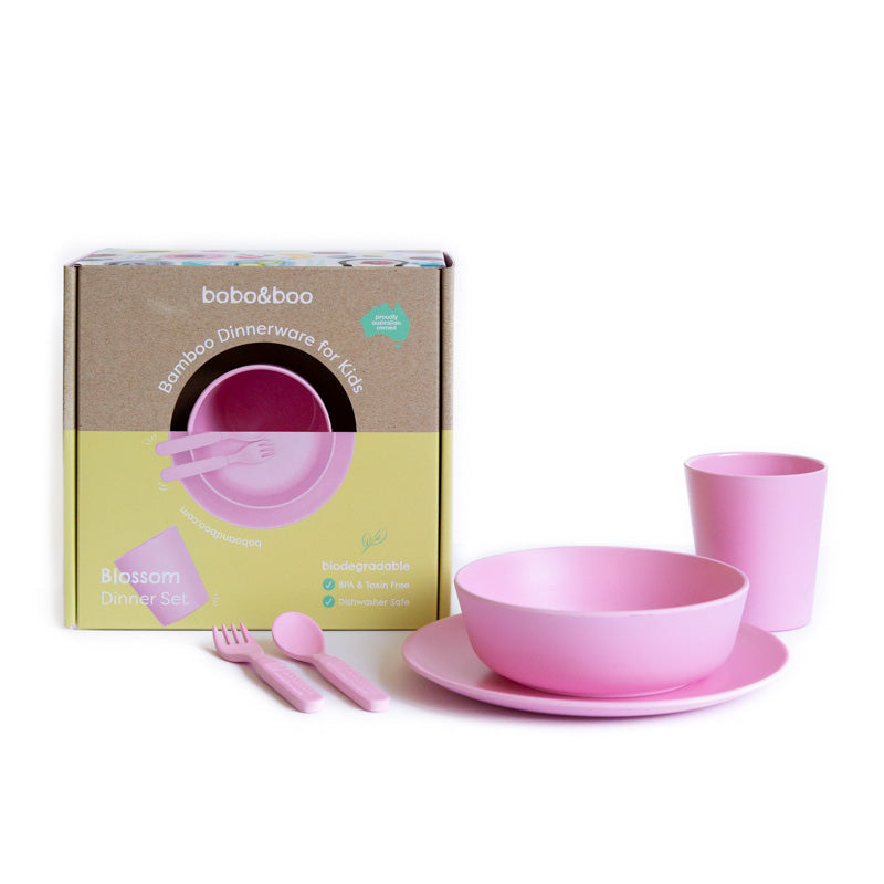 Bamboo kids dinnerware set - blossom | BPA & Toxin Free | Dishwasher Safe | bobo&boo - Nurture Little Footprints