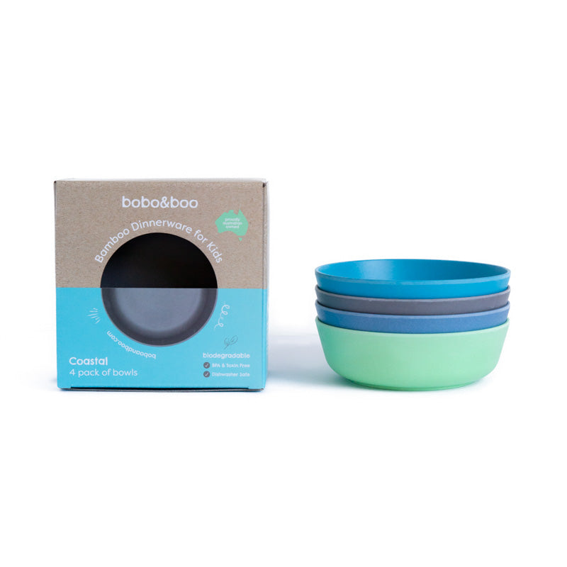 bobo&boo bamboo kids bowl set - coastal | BPA & Toxin Free | Dishwasher Safe