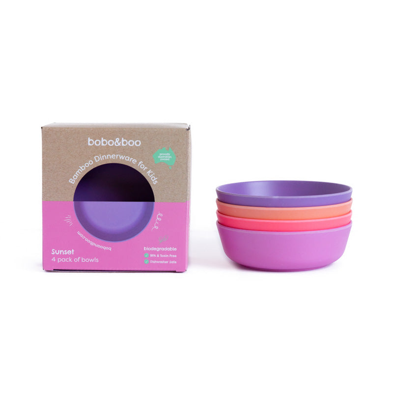 bobo&boo bamboo kids bowl set - sunset | BPA & Toxin Free | Dishwasher Safe