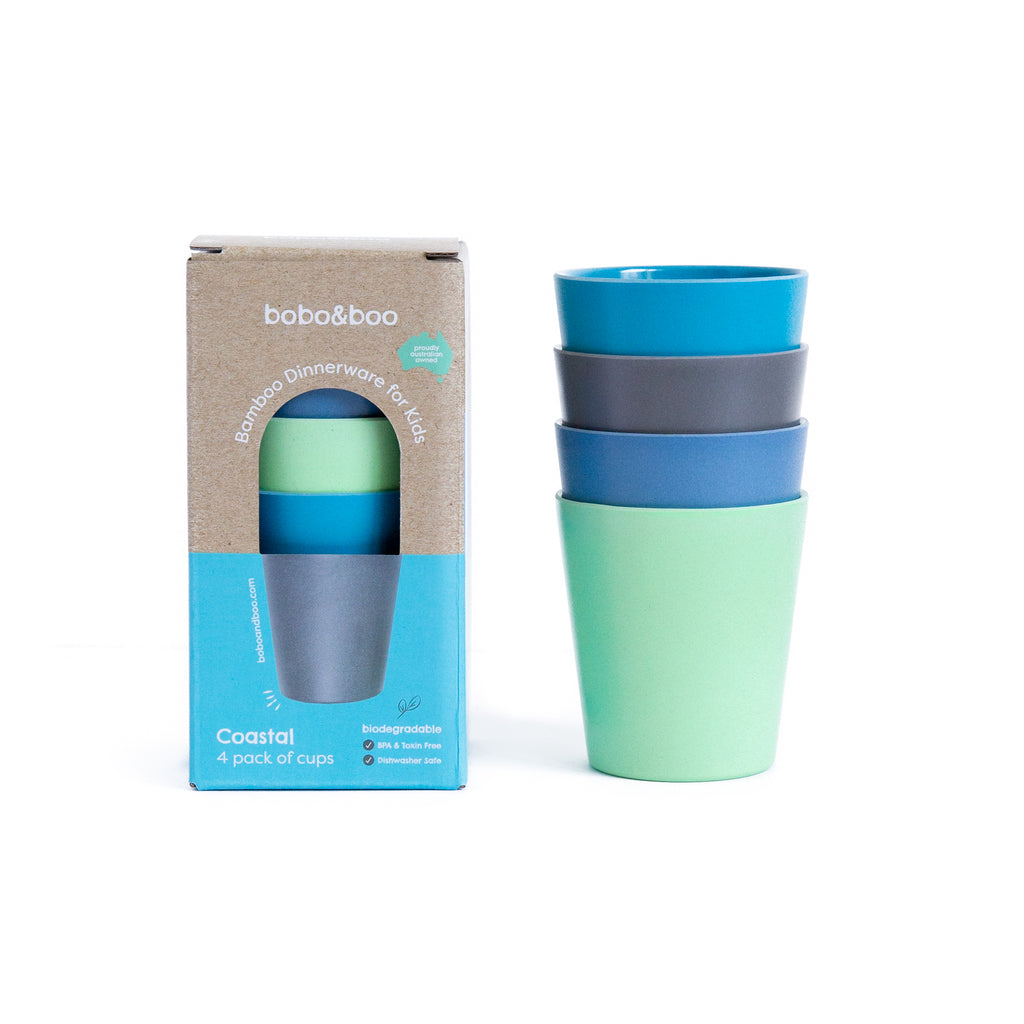 Bamboo kids cup set - coastal | BPA & Toxin Free | Dishwasher Safe | bobo&boo - Nurture Little Footprints