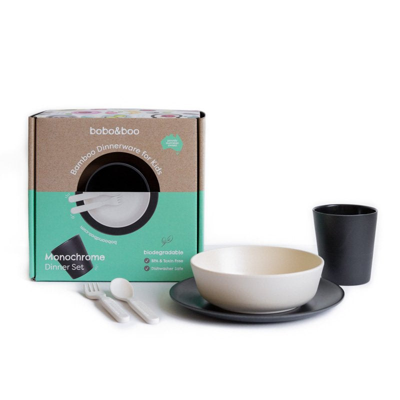 Bamboo kids dinnerware set - monochrome | BPA & Toxin Free | Dishwasher Safe | bobo&boo - Nurture Little Footprints