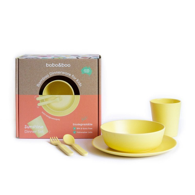 Bamboo kids dinnerware set - sunshine | BPA & Toxin Free | Dishwasher Safe | bobo&boo - Nurture Little Footprints