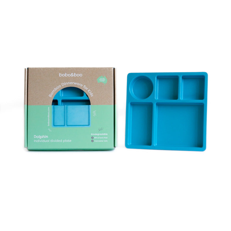 Bamboo kids divided plate - dolphin blue | BPA & Toxin Free | Dishwasher Safe | bobo&boo - Nurture Little Footprints