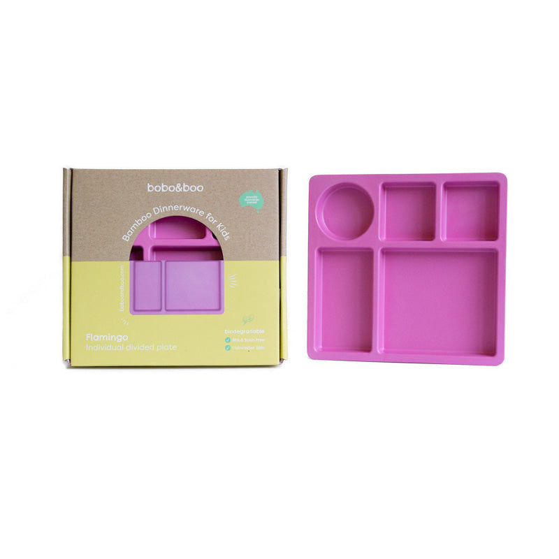 Bamboo kids divided plate - flamingo pink | BPA & Toxin Free | Dishwasher Safe | bobo&boo - Nurture Little Footprints