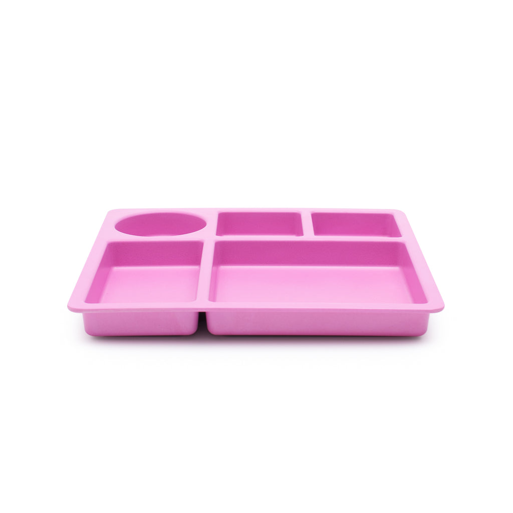 bobo&boo bamboo kids divided plate - flamingo pink | BPA & Toxin Free | Dishwasher Safe - Little Bamboos