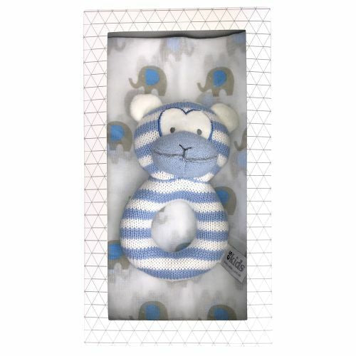 ES Kids | Monkey Rattle Muslin Gift Set - Blue - Nurture Little Footprints