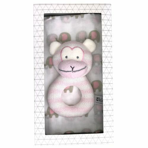 ES Kids | Monkey Rattle Muslin Gift Set - Pink