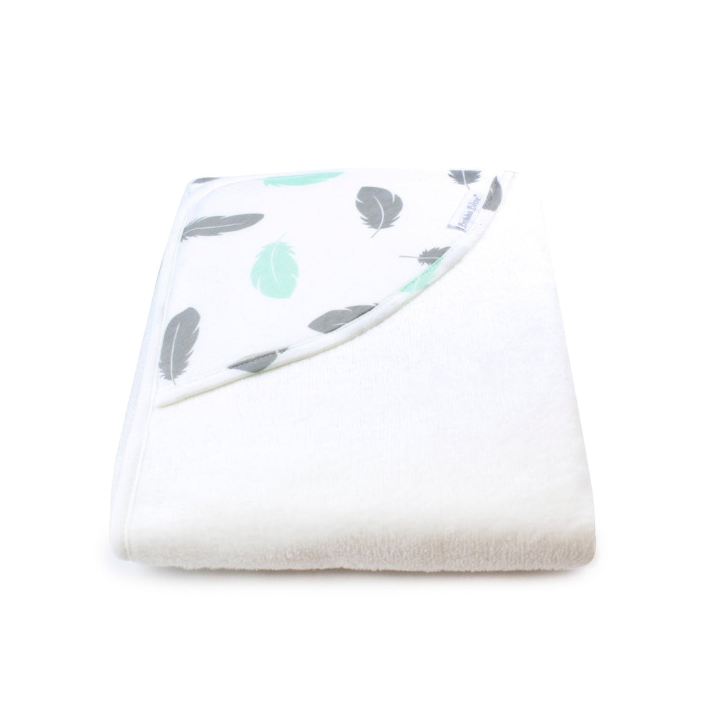 Organic Feathers Hooded Towel | GOTS certified Organic Cotton | Bubba Blue - Nurture Little Footprints
