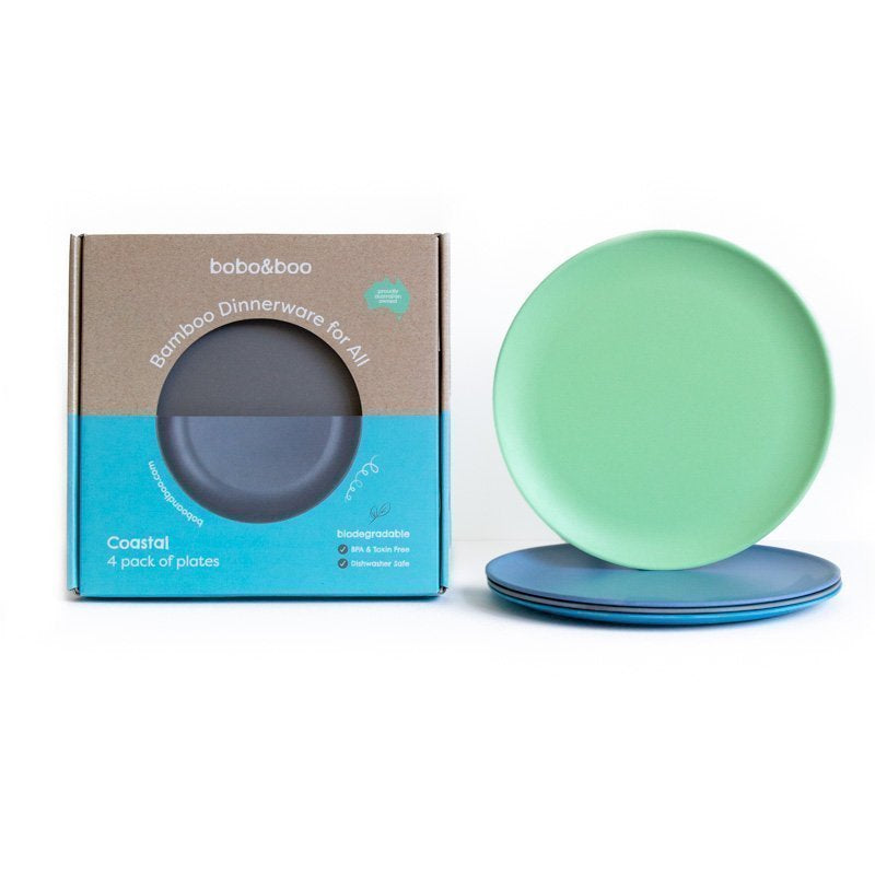 bobo&boo adult-sized bamboo plate set - coastal | BPA & Toxin Free | Dishwasher Safe