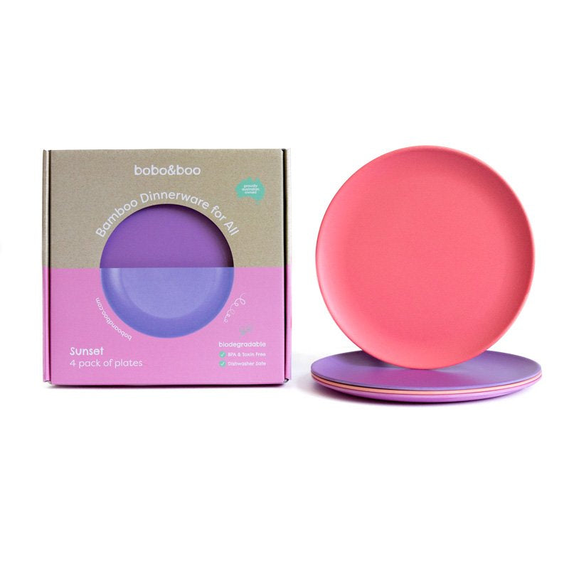 bobo&boo adult-sized bamboo plate set - sunset | BPA & Toxin Free | Dishwasher Safe
