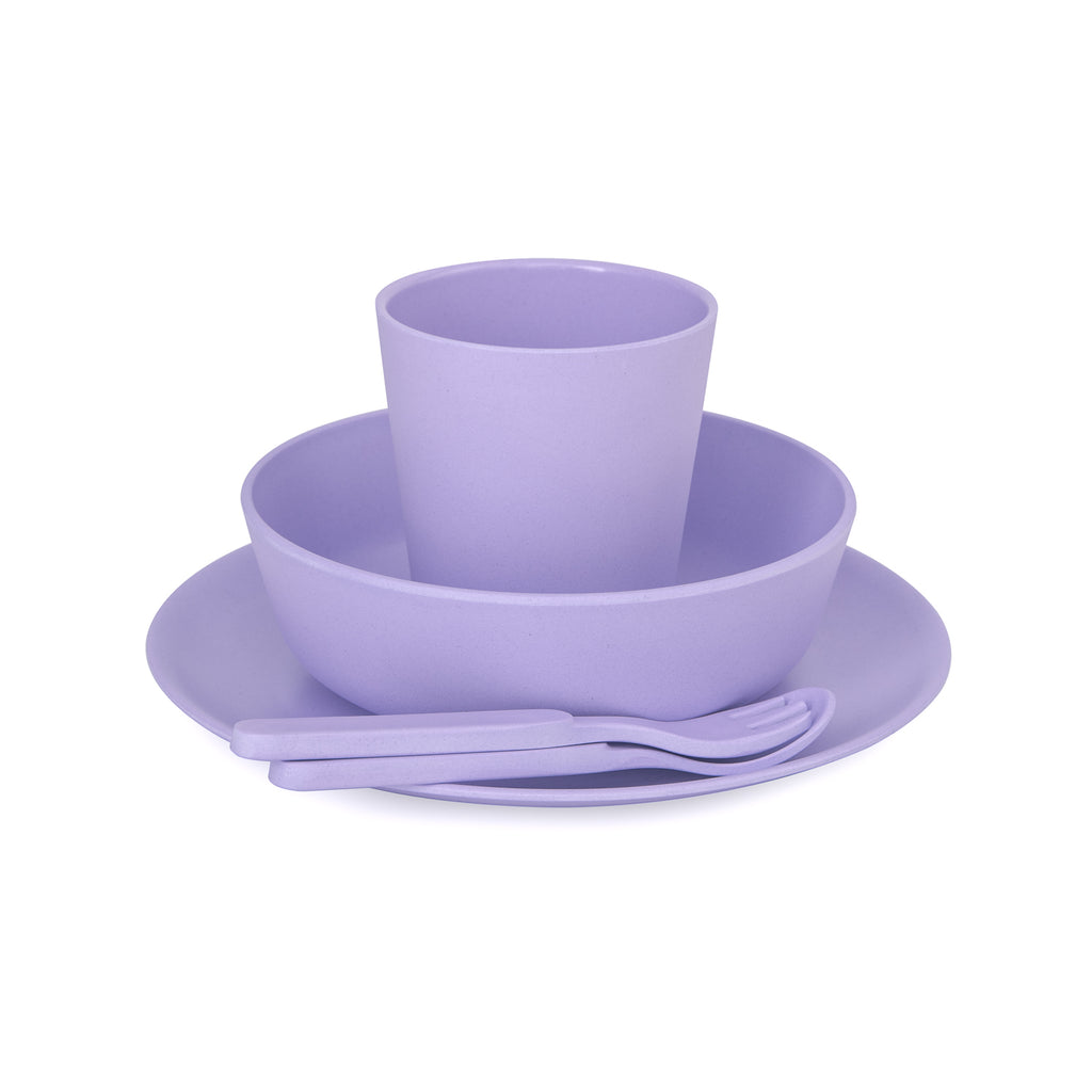 Bamboo kids dinnerware set - lilac | BPA & Toxin Free | Dishwasher Safe | bobo&boo - Nurture Little Footprints