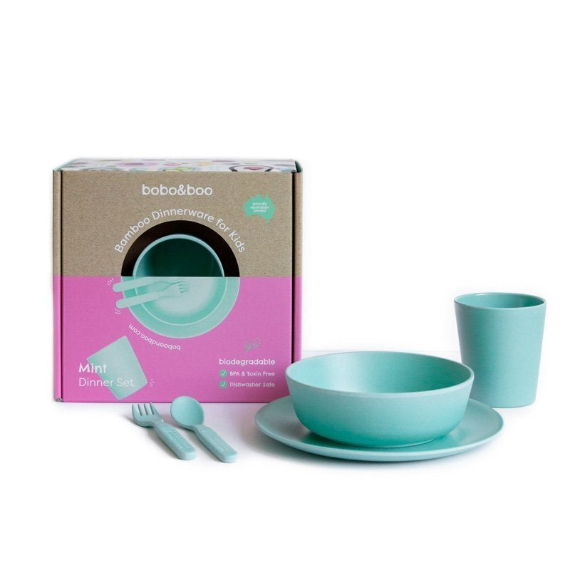 Bamboo kids dinnerware set - mint | BPA & Toxin Free | Dishwasher Safe | bobo&boo - Nurture Little Footprints