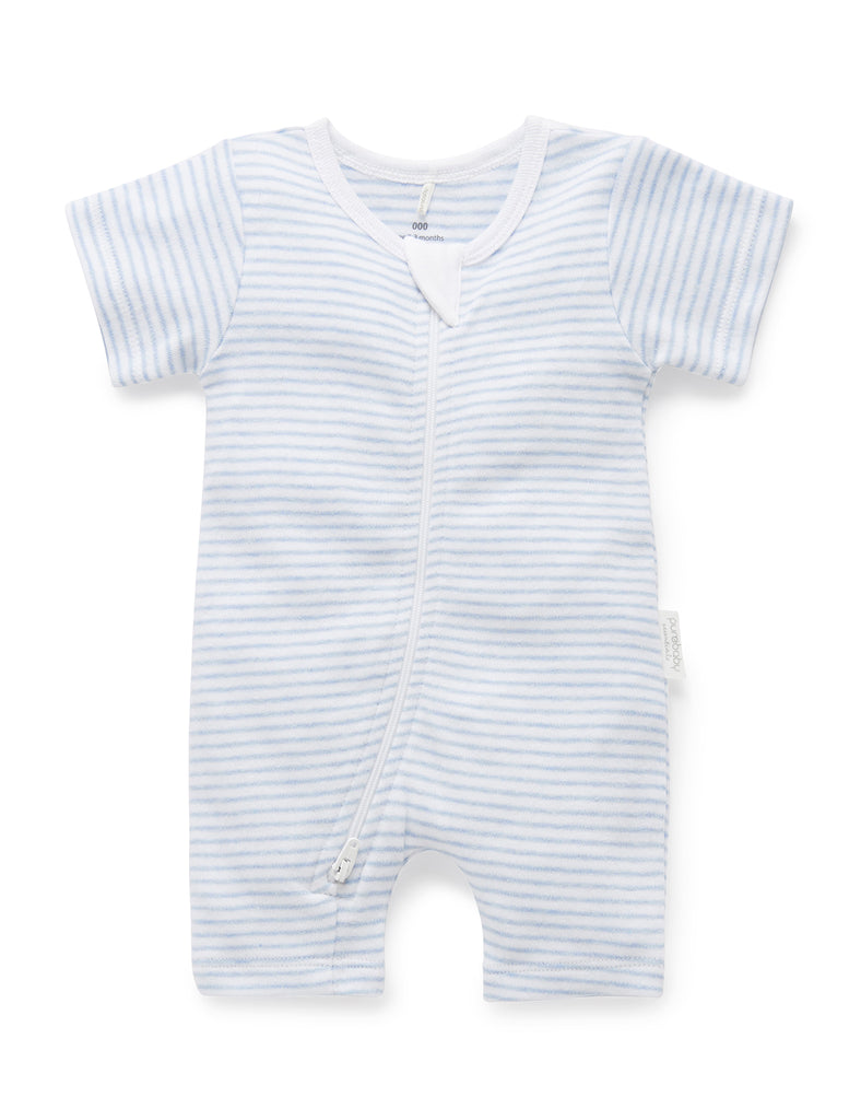 Purebaby | Short Leg Zip Growsuit | Pale Blue