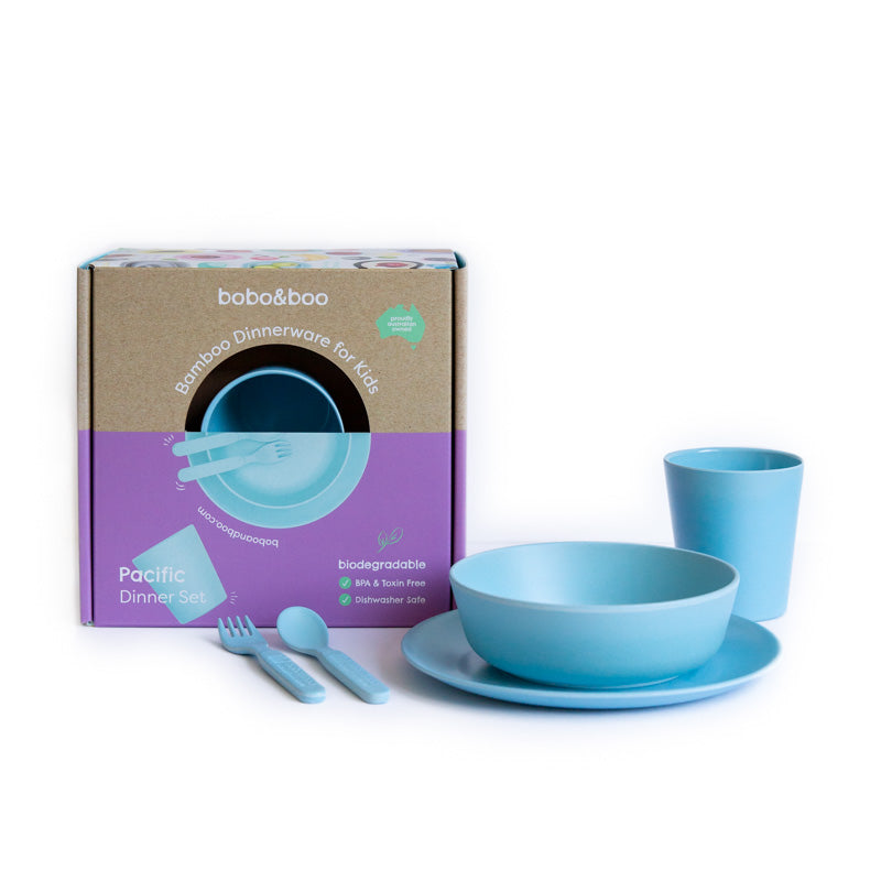 Bamboo kids dinnerware set - pacific | BPA & Toxin Free | Dishwasher Safe | bobo&boo - Nurture Little Footprints