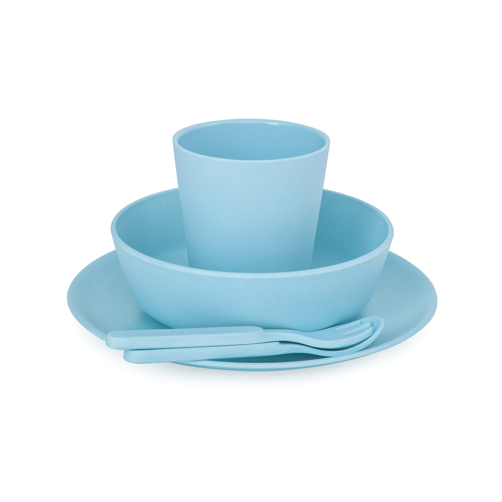 bobo&boo bamboo kids dinnerware set - pacific | BPA & Toxin Free | Dishwasher Safe