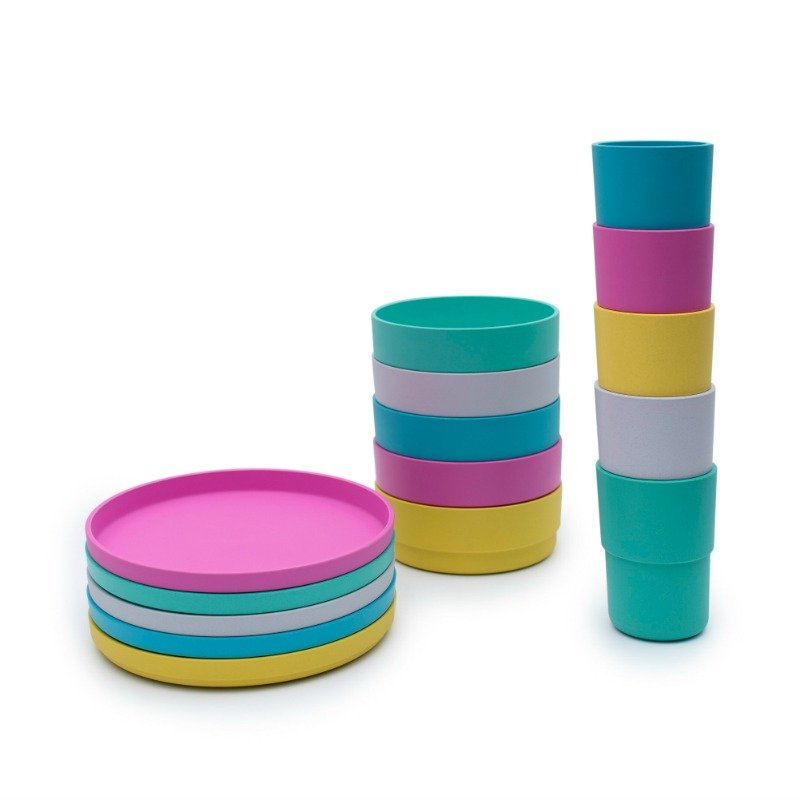 Bobo&Boo Plant Based Kids Dinnerware Set - Tropical | BPA & Toxin Free | Microwave Safe