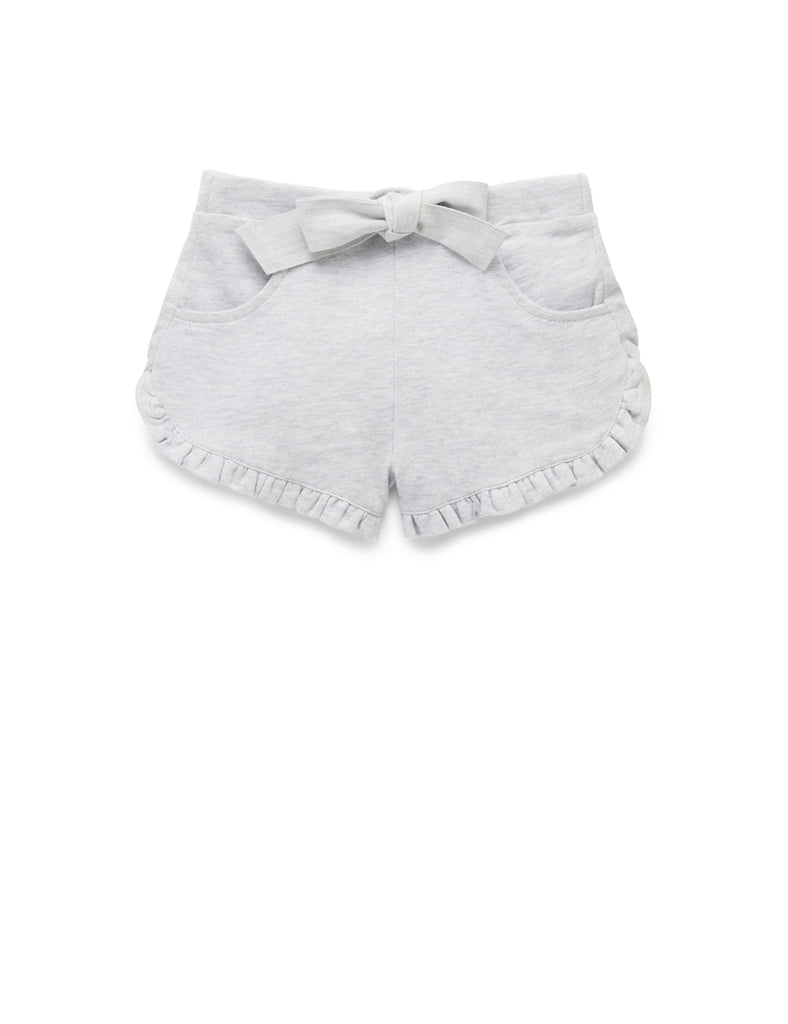 Ruffle Shorts | Pale Grey Melange | Purebaby - Nurture Little Footprints