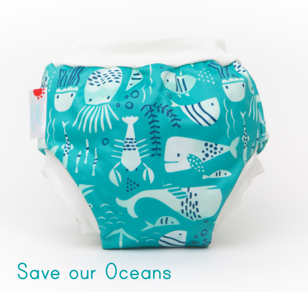 Bamboo Lined Swim Nappies | Save Our Oceans | Bambooty - Nurture Little Footprints