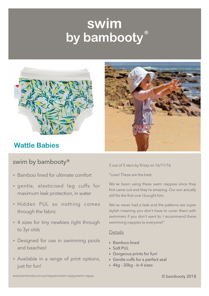 Bamboo Lined Swim Nappies | Cranky Crocs | Bambooty - Little Bamboos