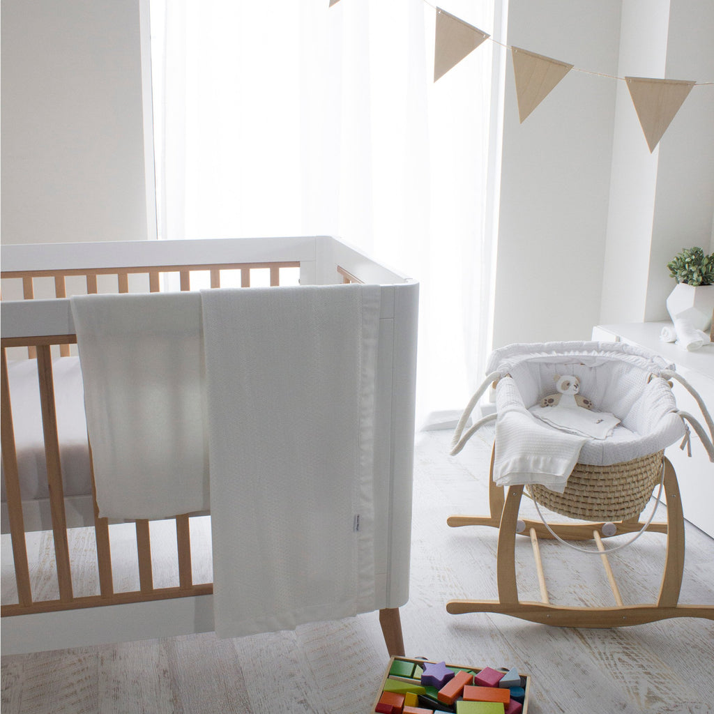 Bamboo White Cot Waffle Blanket | Bubba Blue - Nurture Little Footprints
