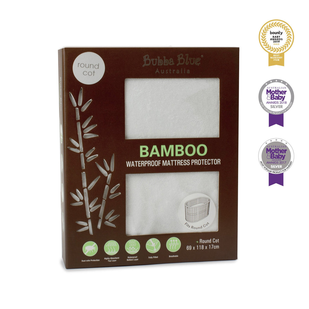 Bamboo White Round Cot Waterproof Mattress Protector | Bubba Blue - Nurture Little Footprints
