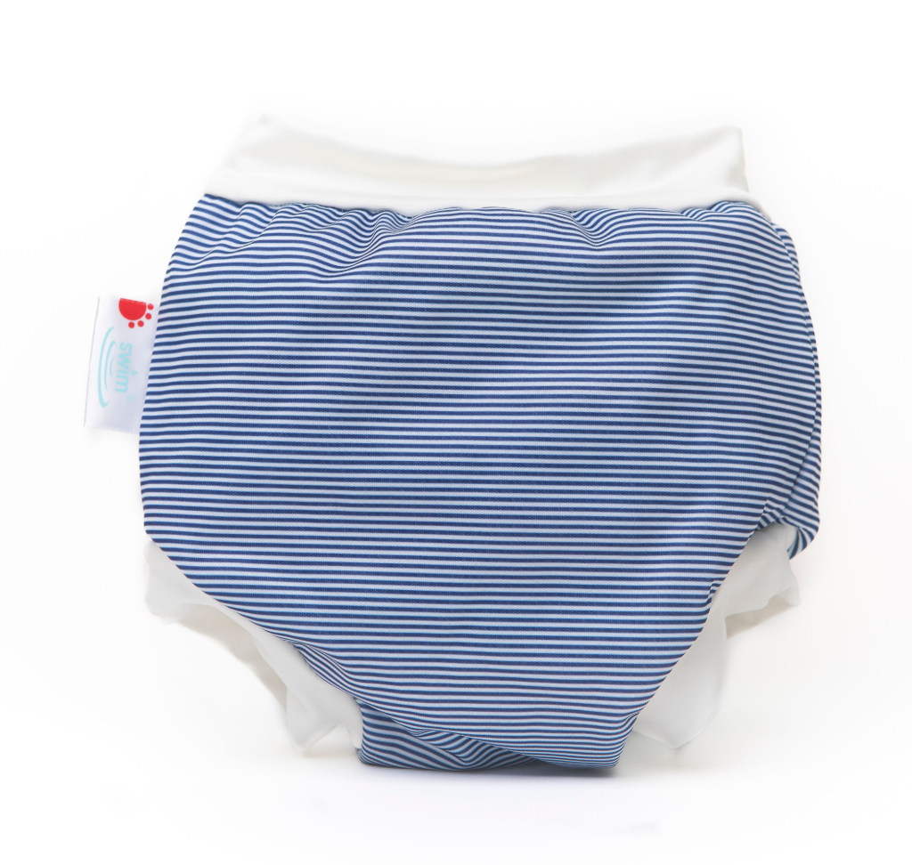 Bamboo Lined Swim Nappies | Navy Stripes | Bambooty - Nurture Little Footprints