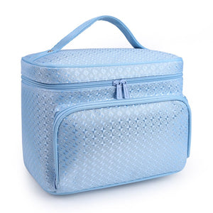 Fashion diamond lattice big cosmetic bag waterproof