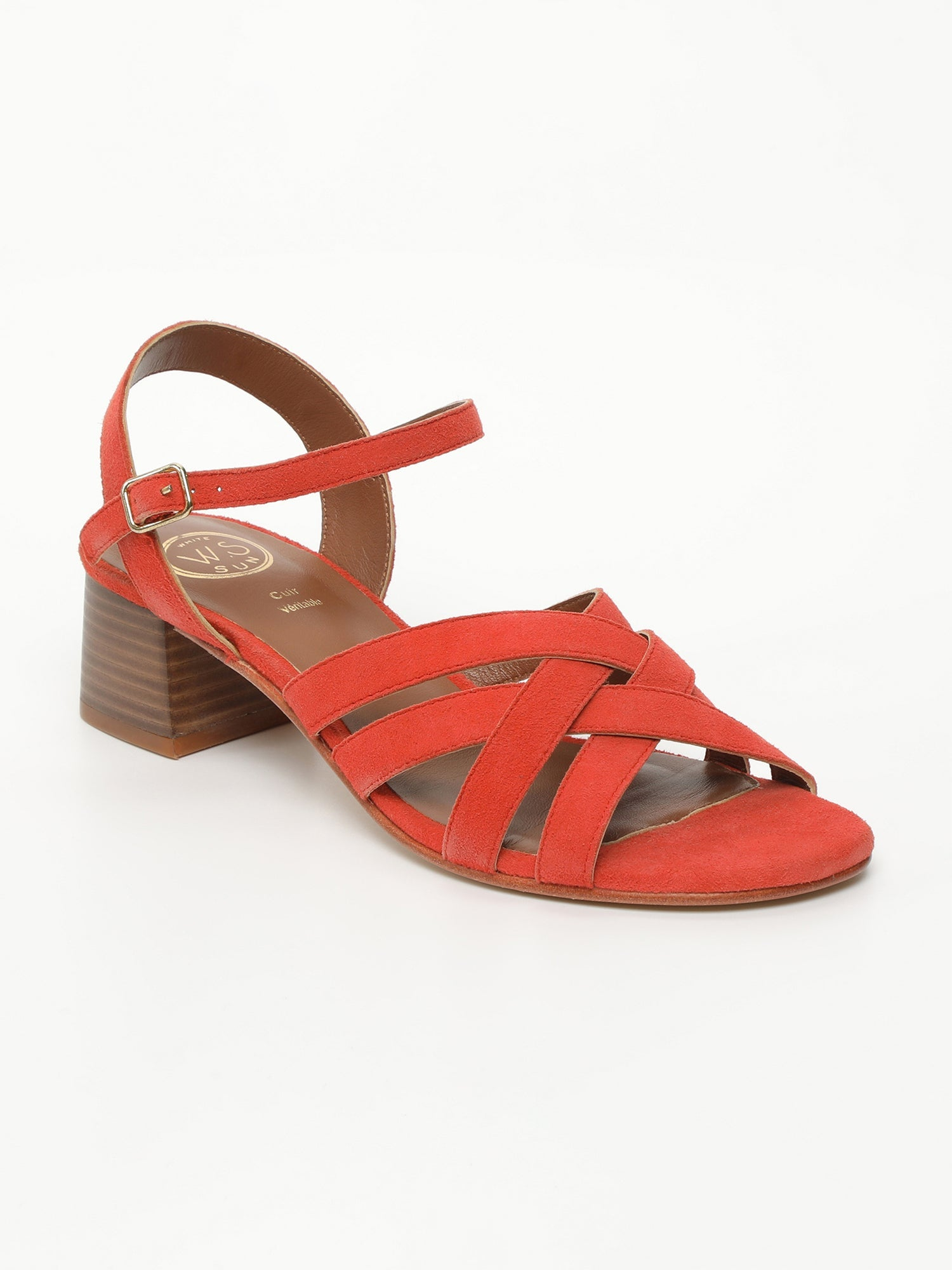 ERELL Sandales Talons Cuir Orange