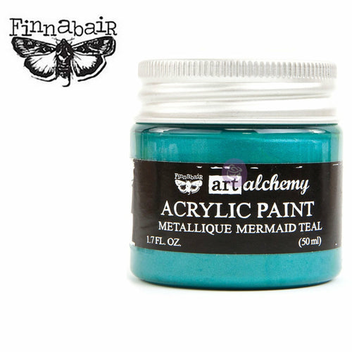 A small see through container of paint with a silver screw-on lid in a white background. A Finnabair moth logo in black on the upper left-hand side. Inside of the container you can see that the color of the paint is a metallic teal, and the label reads: Finnabair. Art alchemy. Acrylic paint. Metallique Mermaid Teal. 1.7 FL.OZ. (50ml)