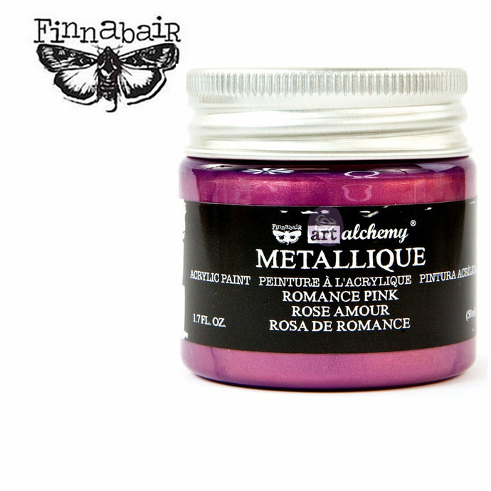A small see through container of paint with a silver screw-on lid in a white background. A Finnabair moth logo in black on the upper left-hand side. Inside of the container you can see that the color of the paint is a metallic magenta, and the label reads: Finnabair. Art alchemy. METALLIQUE. Acrylic paint. Peinture a l'crylique. Pintura acrilica. Romance Pink. Rose Amour. Rose De Romance. 1.7 FL.OZ. (50ml)