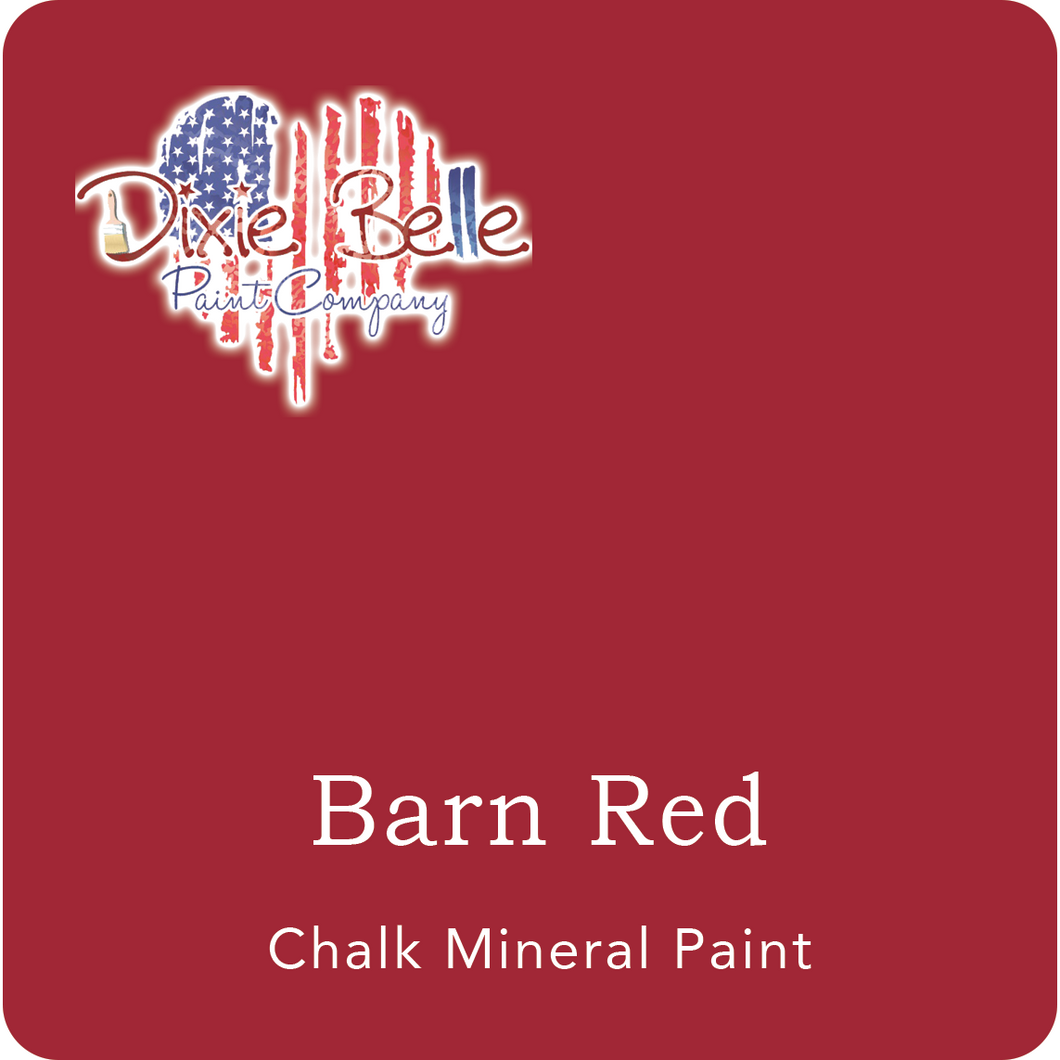"A deep red swatch in a square shape with rounded corners. At the bottom, and centered inside of the swatch, are the words: Barn Red. Chalk Mineral Paint. And on the upper left hand corner, inside of the swatch is the word ""Maika Daughters"" and the logo for Dixie Belle Paint Company in the shape of a heart with the colors of the American Flag."